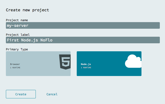 create project dialog with Node.js type selected